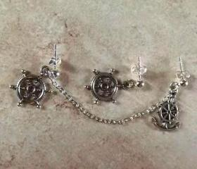Anchor and Ship Wheel Cartilage Earring Set With Chain