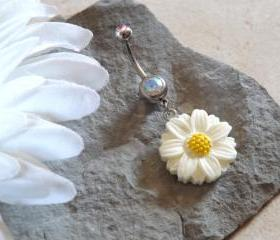 Daisy Belly Ring Flower With Crystal Rhinestone Body Jewelry