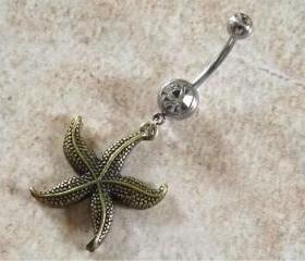 Bronze Starfish Belly Ring on White Rhinestone Belly Ring Body Jewelry