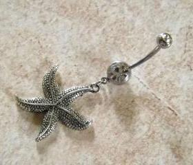Starfish Belly Ring on White Rhinestone Belly Ring Body Jewelry